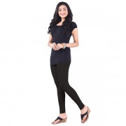 LUX Lyra Cotton Stretchable Full length Churidar Lycra Leggings for women - Charcoal