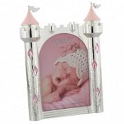 Rama foto argintata castel roz