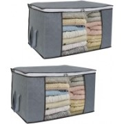 Corslet Cloth Storage Bag Garment Cover ( Pack Of 2 ) Foldable Bag Cloth Organizer Storage Bag Set Clothing Storage Bag with Zippered Closure Non Woven Underbed Clothes Storage Bag for Travel Closet Organizer and Storage for Clothes Storage Bag for Clothe