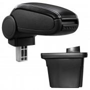 Středová loketní opěrka - vhodná pro: Hyundai i30 (2007-2012) - umělá kůže - Černá s bílými švy
