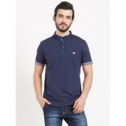BONATY Navy Blue 100 Cotton Henley Neck Solid T-Shirt For Men