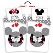 Lenjerie bumbac Jerry Fabrics Mickey și Minnie Love grey, 140 x 200 cm, 70 x 90 cm