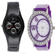 Rosra Black Men and Glory Purple Round Dial Butterfly Women Watches Couple for Men and Women