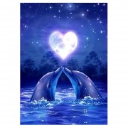 5D BRICOLAJE Pintura Diamante Cruz Dolphin Amante Rhinestone Decoración Pintura