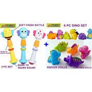 TOY-STATION Baby Toys Combo (Animal hand Rod & Dino Toys)