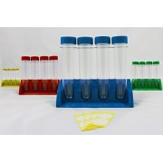 Blue Nova Colorful Jumbo Test Tubes for Kids | 16 Test Tube Kits with Lab Storage Stands | Educational Classroom Accessories for Learning (Four 4 Sets, 16 Tubes)