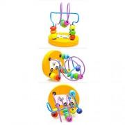 Pixnor Mini Rollercoaster Bead Maze Wooden Mini Circle Bead Maze Bead Puzzle