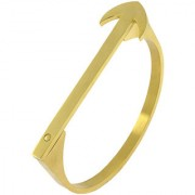 The Jewelbox Designer Arrow 18K Gold 316L Surgical Stainless Steel Openable Bangle Cuff Kada Bracelet Men