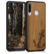 kwmobile Drewniane etui z wzorem kotwica dla Huawei P30 Lite - ciemnobrązowy