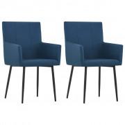 vidaXL Krzesła z podłokietnikami, 2 szt., niebieskie, tkanina