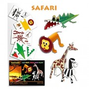 UNTOLD DIY 3D MODELING PAPER CONSTRUCTION KIT PUZZLE ASSEMBLING KNOWLEDGE LEARNING AND EDUCATIONAL TOY GIFT(SAFARI SET OF 4 TOYS)