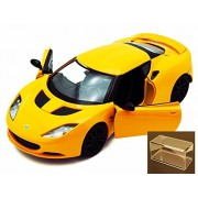 Diecast Car & Accessory Package - Lotus Evora S, Yellow - Motormax 79313 - 1/24 scale Diecast Model Toy Car w/display case