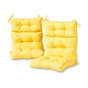 Greendale Home Fashions Cojines para Sillas de Respaldar Alto, de Interiores o Exteriores, Color Amarillo Sunbeam, Juego de 2