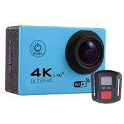 JIANG Cámara y foto F60R 2.0 pulgadas de pantalla 4K 170 grados de gran ángulo WiFi acción deportiva cámara videocámara con funda de carcasa impermeable y mando a distancia, soporte 64GB Micro SD Card Video