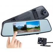 NavGear Full-HD-Rückspiegel-Dashcam, Rückfahrkamera, 17,4-cm-Touch-Display