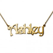 Personalized Men's Jewelry Personalized 18K Gold Plated Sterling Silver Name Necklace 101-01-074-08