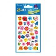 Merkloos Bloemen stickers van papier 3 vellen