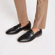 River Island Mens Black tassel woven loafers - Size 40 (EU)