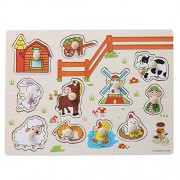 YeahiBaby Wooden Farm Peg Puzzles See-Inside Puzzle Hand Grab Wood Jigsaw Puzzle Toys