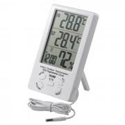 TA298 Termometro de interior para exteriores con reloj higrometro - Blanco