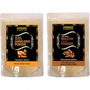 Donnara Organics 100% Natural Sandalwood Powder and Mulethi(Licorice) powder Combo pack of 2 of 150 gms(300 gms)