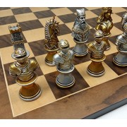 "Medieval Times Crusades Busts Gold & Silver Knights Chess Set W/ 17"" Walnut & Maple Veneer Board"