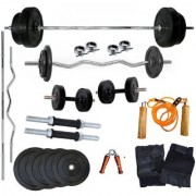 Body Maxx 20 Kg Home Gym 2 Dumbbell Rods 1 Curl rod 1 Straight rod 1 Pair Gym glove 1 Hand Grip 1 Skipping Rope
