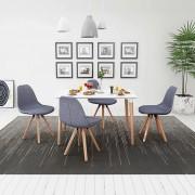 vidaXL Matbord och stolar fem delar vit ljusgrå