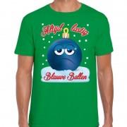 Bellatio Decorations Fout kerst shirt Blauwe ballen groen voor heren