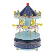 Segolike Merry Go Round Music Box w/ Steepletop Christmas Kid Birthday Present Carousel Musical Box Toy - blue