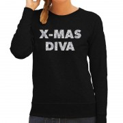 Bellatio Decorations Foute kerstborrel trui / kersttrui Christmas Diva zilver / zwart dames M (38) - kerst truien
