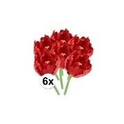 Bellatio flowers & plants 6x Kunstbloemen tulp rood 25 cm