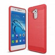 naxtop wire drawing fibra de carbono texturizada TPU acabado cepillado telefono suave cubierta trasera para huawei enjoy 6S - rojo