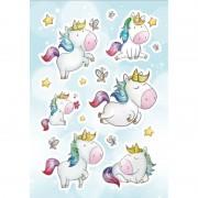 Merkloos 16x Eenhoorn dieren stickers met strasssteentjes