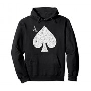 Unisex Ace of Spades Poker Playing Card Hoodie Small Black