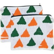 Revolt India Cosmetic Pouches for Woman for Travel 2 Pcs Set Triangle Printed Size : 8 x 6 Inches Pouch(Multicolor)