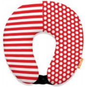ORKA Digital Printed Spandex With Micro Beads U Neck Pillow(Red And White)