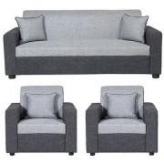 Pirodia Furniture Pvt Ltd Gioteak Bulgariya 5 seater sofa set in Black Grey color (Solidwood)