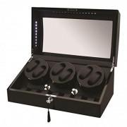 Allurez Caja para seis relojes de madera negra con LED y almacenamiento adicional