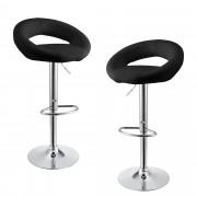 [en.casa]® Bárszék Pécs 2 darab kárpitozott műbőr kerek konyhai szék forgatható állítható magasság fekete