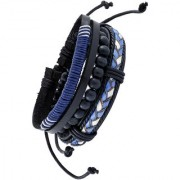 The Jewelbox Blue Black 100 Genuine Leather Dye Rope Tibetian Beads Multi Strand Wrist Band Bracelet Men