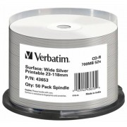 CD-R lemez, nyomtatható ezüst felület, matt, no-ID, AZO, 700MB, 52x, hengeren, VERBATIM (CDV7052B50NS)