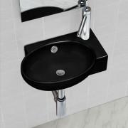 vidaXL Керамична мивка за баня с преливник, отвор за смесител, черна, кръгла