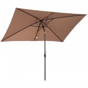 Outsunny Sun Umbrella Patio Parasol Tilt Canopy Outdoor Garden Shade Coffee