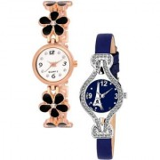 New Black Flower Belt And Blue Effil Tower Leather 2 Combo Watch For Girls Analog Watch - For Women