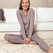 Skiny Active-Wool-Wäsche, 42 - Taupe - Langarm-Shirt