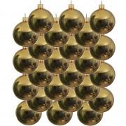 Bellatio Decorations 24x Gouden glazen kerstballen 8 cm glans