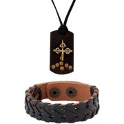 Dare by Voylla Celtic Cross Leather Pendant & Black Woven Leather Bracelet Combo