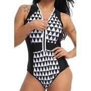 FITTOO Bikini Monokini Brasileño Acolchada Sexy Trajes de baño Una Pieza V-Cuello de Moda Color Solido Talla Grande124#1 Negro Grande