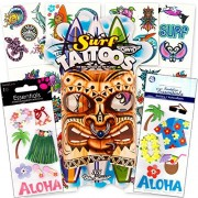 Tiki Luau Stickers and Tattoos Party Favors Pack -- 6 Sticker Packs and 35 Temporary Tattoos (Luau Party Supplies)